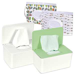 TORASO Large Size, 2 PCS Baby Wipes Dispenser with Lid and 2 PCS Pouch with Lid, Baby Wipe Holder Keeps Wipes Fresh Simple Style Wipe Container Regular Storage Case Box (GN,WH+2,Large)