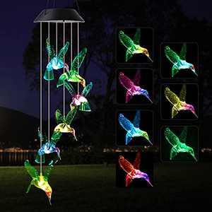 JOBOSI Hummingbird Wind Chime Solar Wind Chimes Outdoor Indoor Decor,S Hooks, Gifts for Women Gifts for Grandma Gifts for Mom Birthday Gifts, Hummingbird Gifts, Gardening Decor