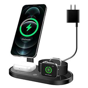 3 in 1 Magnetic Wireless Charging Station,Fast Wireless Charger Compatible with iPhone 12/12 Pro/ 12 Pro Max/12 Mini,Wireless Charger Stand for Apple Watch Series SE/6/5/4/3/2/1&AirPods 2/Pro