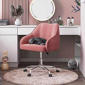 Cute Pink Desk Chair for Teen Girl Kids, Home Office Computer Desk Chairs with Wheels and Arms, Comfy Velvet Fabric Swivel Rolling Task Chair Vanity Chair for Makeup Room, Bedroom, Living Room, CAELUM