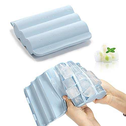 Ice Cube Tray, RAVEGO Silicone Ice Cube Trays with Spill-Resistant Lid Easy-Release 15-Ice Cubes Mold for Freezer, Whiskey, Cocktails