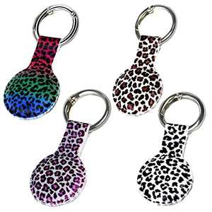 GIK Health Silicone Case for Apple AirTag Keychain with Cute Leopard Design,Scratch Resistant Shockproof Protective Cover,Anti Lost Bumper Protector Key Ring for AirTags Holder Accesorries,4 Pack