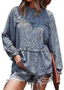 PRETTYGARDEN Women's Chiffon Leopard Print Lantern Long Sleeve Blouses Ruffle Neck Loose Pullover Tops (Blue, Small, s)