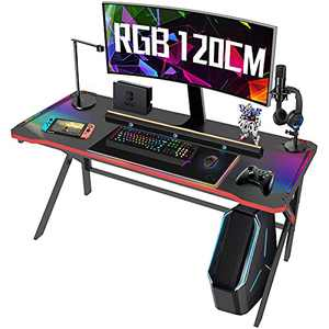 Gaming Desk, 47 inch Computer Gaming Desk with LED Lights, K-Shaped PC Computer Gaming Desk, Gamer Home Office Table, Carbon Fiber Surface & Free Mousepad, Gift for Boyfriend Student Men Female