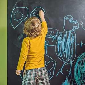Pinkeyearn Chalkboard Wallpaper Self Adhesive Vinyl Paper Wall Decal Sticker Dry Erase Board with 5 Colorful Chalks for Kids Room Home Study Office (17.7x78.7 inches)