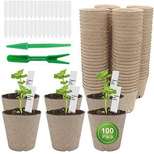 """Plant Pots,100 Packs 3"""" Peat Pots for Seedling with 100 Pcs Plant Labels,Organic Biodegradable Flower Pot,Herb Seed Starter Small Plant Pots"""