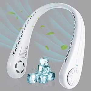 Portable Neck Fan,Cosyzone Hand Free Bladeless Neck Fan,360° Cooling Hanging Fan, 3 Wind Speed Personal Neck Fan,Leafless Headphone Design Fan with USB Rechargeable for Traveling, Office(White)