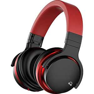 MOVSSOU E7 Active Noise Cancelling Headphones Bluetooth Headphones Wireless Headphones Over Ear with Microphone Deep Bass, Comfortable Protein Earpads, 30 Hours Playtime for Travel/Work, Black
