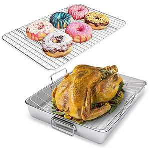 Roasting Pan, Stainless Steel Roaster Lasagna Pan & V-shaped Rack & Roasting Rack, Broiler Pan with Handles for Turkey, Bread, Cookies, BBQ, Non-Toxic & Heavy Duty, Dishwasher Safe, Rectangular