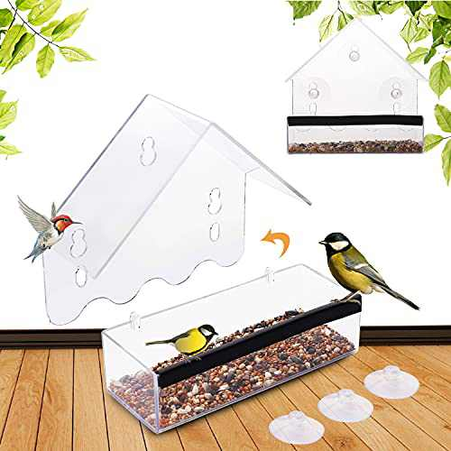 Window Bird Feeders, Roof Shape Clear Acrylic Hanging Bird Feeder with Suction Cups and Screws, Separable and Removable Seed Feed Tray 2 Pack