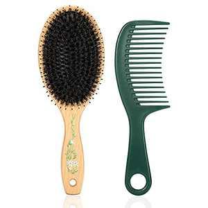 BESTOOL Hair Brush, Boar Bristle Hair Brushes for Women Men Kids, Hairbrush for Curly, Straight Thick, Fine Hair, Detangling Defrizz Distribute Oil