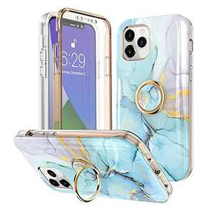 Hosgor iPhone 12/12 Pro Case with Kickstand and Built-in Screen Protector Plating Cute Marble Finger Grip Slim Soft TPU Ring Loop Full-Body Stylish Fashionable Rugged Cover - 6.1inch(Mint Purple)