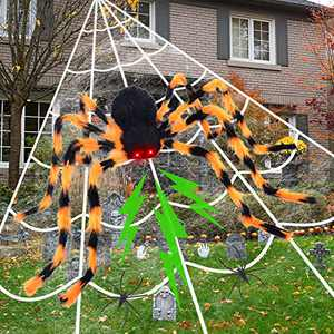 """Halloween Spider Decoration 200"""" Triangular Spider Web + 50"""" Giant Fake Spider with LED Red Eyes & Spooky Sound with 2 Small Spiders for Indoor Outdoor Yard Haunted House Halloween Decor"""