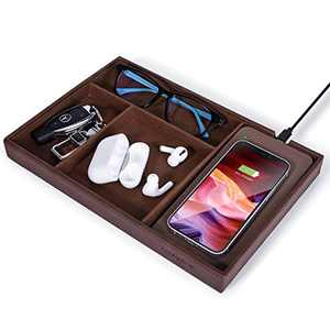 Valet Tray, Built in Wireless Charging Pad, Nightstand Organizer, Dresser Organizer, Mens Jewelry Box, Valet Charging Station, Faux Leather Valet Tray for Men and Women, Brown (Dark Brown)