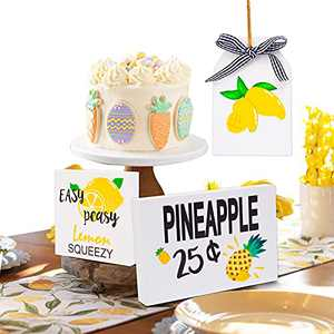 wartleves 3 Pieces Lemon Tiered Tray Decorations Lemon Pineapple Wood Sign Summer Fall Wooden Table Sign for Farmhouse Rustic Kitchen Table Tiered Tray Decoration