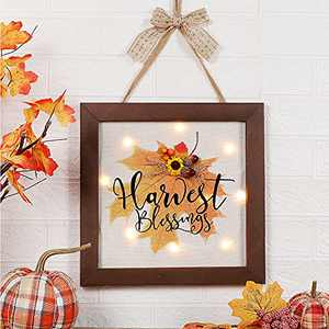 OVEELER Fall Decor with Light Harvest Blessings Wall Decor Thanksgiving Hanging Decoration, Art Wooden Frames Sign with Sunflower and Leaves for Front Door, Porch, Living Room, Home, 13x13Inches