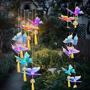 BiGosh Wind Chimes Outdoor, Solar Butterfly Wind Chimes Color Changing Hanging Solar Lights Garden, Waterproof LED Automatic Sensor Lights with Bell Hanging Lamps Gifts for Mum Decor Garden