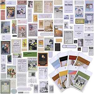 8 Sets Vintage Scrapbook Paper Stickers Retro Antique Stickers Parchment Aged Paper Stickers for DIY Journaling Calendar Diary Craft Album, 320 Pieces