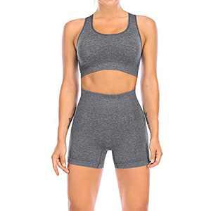 YR.Lover Women's Seamless Yoga Workout Outfits Set 2 Piece High Waist Sports Shorts Gym Sleeveless Bra Sets