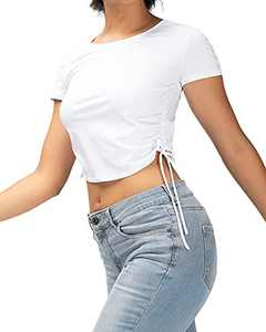 FITTIN Side Tie Drawstring Crop Tops for Women Basic Round Neck Short Sleeve Cute T-Shirts White