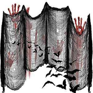 Qtisky 315 x 80'' Halloween Creepy Cloth - Halloween Black Cloth Halloween Gauze, Spooky Giant Creepy Cloth Halloween for Home Wall Decor Party Supplies