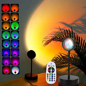 Sunset Lamp, Sunset Night Light Rainbow Projector 10W 360° 16 Color Changing 4 Modes, Romantic Visual Ambient for Room, Vlog, Photography, Decorative, Party Decor, Gift for Women, USB Charging