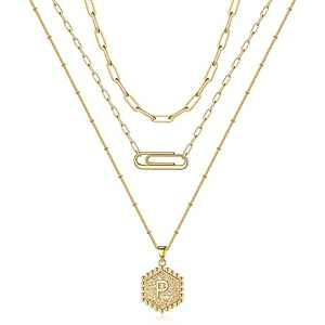 Initial Layered Necklaces for Women, 14K Gold Plated Paperclip Chain Necklace for Women Dainty Hexagon Initial P Letter Pendant Necklace Gold Initial Layered Necklaces for Women Jewelry