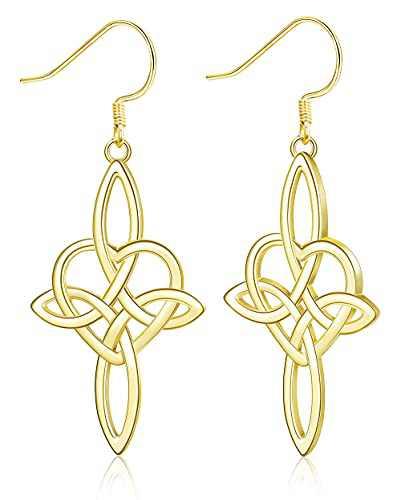 MUSECLOUD 14K Gold Plated Celtic Knot Dangle Earrings 925 Sterling Silver Cross Dangle Earrings For Women Good Luck Irish Jewelry Vintage Celtic Love Knot Earrings (Gold)
