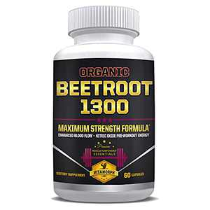 Organic Beetroot 1300 - Max Strength Beetroot Capsule Supplement with Beetroot Powder - Organic Beta Vulgaris Beetroot Supplement for Nitric Oxide Pre-Workout Nitrate Energy by Vitamorph - 60 Caps