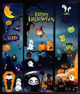 DIYDEC 6sheet 200pcs Halloween Window clings,Pumpkin Ghost Spooky Window Stickers for Halloween Window Display and Decoration