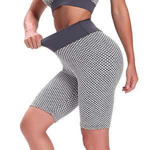 Hanstre High Waist Workout Leggings Scrunch Butt Lift Yoga Shorts for Women Anti Cellulite Honeycomb Tummy Control Yoga Pants Workout Shorts Grey