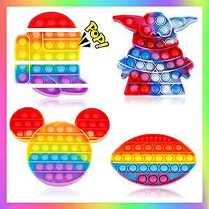 Woplagyreat 4 Pack Pop Fidget Rainbow Figetget Sensory Toy Popping,Anxiety Autism Relieve Relief Bubble Silicone Game Gift Special Kid Teen Adult ADHD Box us Mouse Soccer Ball Baby