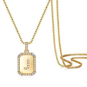 Gold Initial Necklaces for Women, 14K Gold Plated Box Chain Capital Letter J Initial Pendant Necklaces Adjustable Personalized Gold Necklaces for Women Initial Jewelry