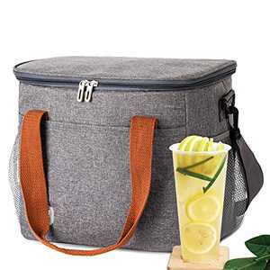 Large Lunch Box for Women/Men 15L Container Portable Insulated Lunch Bag - Leakproof Lunch Tote Bag with Removable Shoulder Strap(Grey)