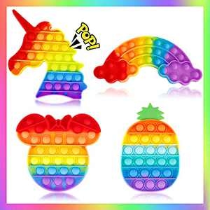 Woplagyreat 4 Pack Pop Fidget Rainbow Figetget Sensory Toy Popping,Anxiety Autism Relieve Relief Bubble Silicone Game Gift Special Kid Teen ADHD Set Popitz Satisfying Box Unicorn Mouse Pineapple