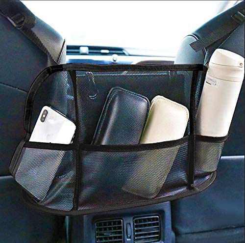 Car Net Pocket Handbag Holder, Car Mesh Organizer Between Seats Upgraded Large Storage Bag for Car