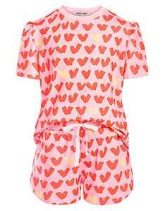 Girls Summer Short Sleeve T-shirt & Shorts 2 Piece Clothing Set Pink Heart 7Y