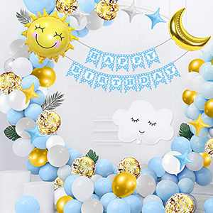 Birthday Decoration, Birthday Decorations for Boys, 102Pcs Happy Birthday Balloon Blue Birthday Decorations Balloons with Happy Birthday Banner, Foil Sky Theme Balloons Birthday Decorations for Boys