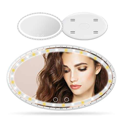 Car Visor Mirror Car Vanity Mirror With USB Rechargeable Touch Control 3 Light Mode Sun Visor Mirror For Car Truck SUV Automobile Office Home Travel Make Up Mirror