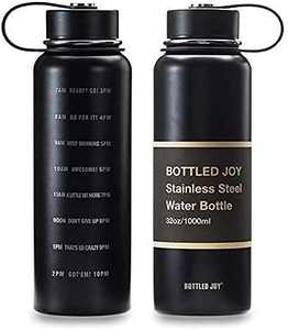 JOYSHAKER 32oz Stainless Steel Water Bottle with Motivational Time Marked 1L Wide Mouth Travel Mug Double-wall Vacuum Insulated Water Bottle BPA-free Thermo Mug for Outdoor Activities Daily Drinking
