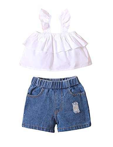 Aslaylme Toddler Girls Summer Clothes Girls Shirt Little Girls Ripped Jeans (Pink,3-4 T)