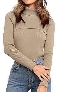 PRETTYGARDEN Women's Turtleneck Knit Sweater Long SleeveSoft Classic Fit Pullover Tops (Khaki, Small, s)