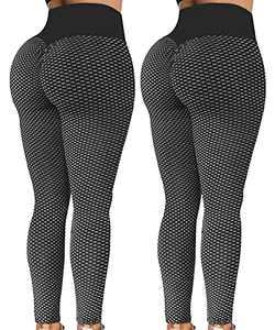 YAMOM TIK tok Leggings for Women 2 Pack High Waist Butt Lifting Workout Booty Textured Legging Pants