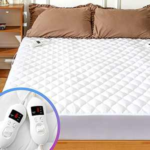 MAKATZ Heated Mattress Pad Queen Size Adjustable Zone Heating with 8 Heat Settings Controller Quilted Electric Mattress Pad Fit Up to 21 Inch