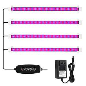 MOSTHINK Plant Grow Light , LED Grow Light Strips for Indoor Plants with Auto ON & Off Timer,60W Dimmable Grow Lamp,108LEDs , Increased Coverage, 4 Pack (16 Inches)