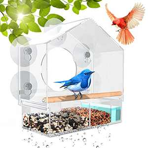 Window Bird Feeder for Outside - 5 Extra-Strong Suction Cups, Removable Seed Tray with Drain Holes, Wooden Wild Bird Perch, Clear Acrylic, Easy to Clean, Best Bird Watching Gifts for Up-Close