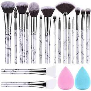 Makeup Brushes DUAIU 17Pcs Marble Make Up Brushes Set Contains Premium Synthetic Foundation Brush Eye Makeup Brushes Blush Brushes Silicone Face Brushes and Makeup Sponge