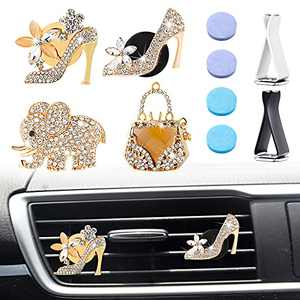4 Pieces Air Conditioning Outlet Clip Car Air Vent Clip Car Air Freshener Clip Car Interior Decor Charm Bling Rhinestone Car Clip with Aromatic Pad for Car, Crystal High Heels Magic Bag Elephant, Gold
