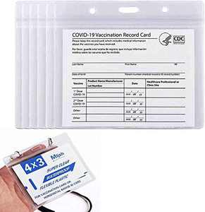 20 Pack CDC Vaccine Card Protector 4x3, Vaccination Card Holder, 4x3 Card Protector for CDC Immunization Badge, Waterproof, Horizontal Badge ID and Clear Plastic Sleeve with Lanyard Holes & Zip
