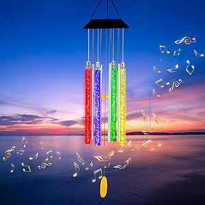 """Arsir Solar Wind Chimes for Outside, 37"""" LED Light Color Changing Windchimes, Mom Grandma Birthday Gift Outdoor Garden Yard Decor Home Patio Hanging Decoration, Gifts for Women Christmas Mother's Day"""